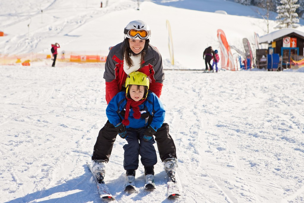 skiing with child